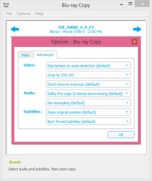 Blu-ray Copy advanced output options