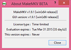 MakeMKV 'about' box when evaluation period is started